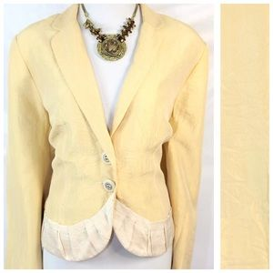People Like Frank Jackets & Blazers - People Like Frank Yellow Cream Crinkle Jacket