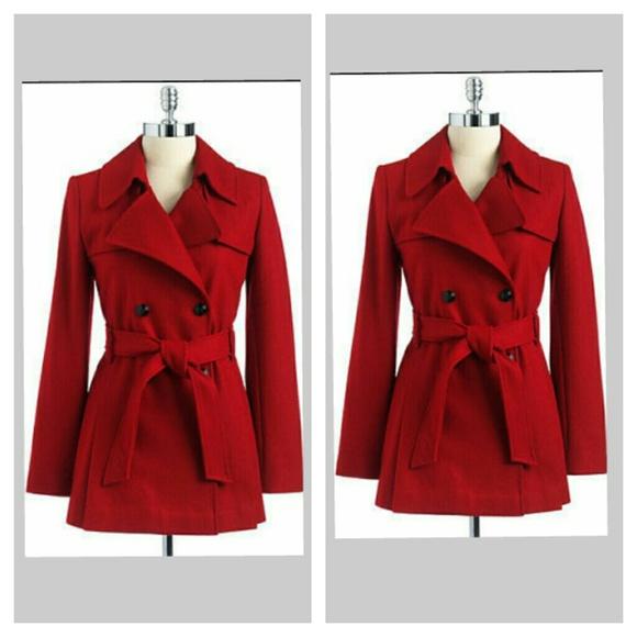 71% off Via Spiga Jackets &amp Blazers - Via Spiga Red Wool Coat-8