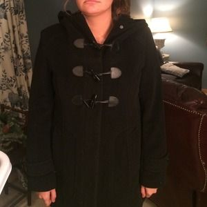 Cole Haan Black wool plush hooded toggle coat