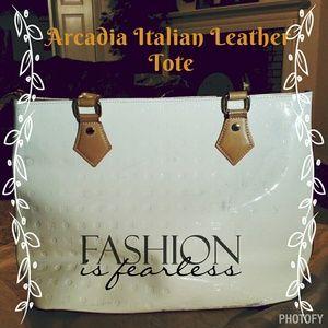 Arcadia Italian Leather Tote White