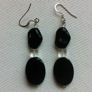 Jewelry - Black Bead Earrings with Sterling Posts
