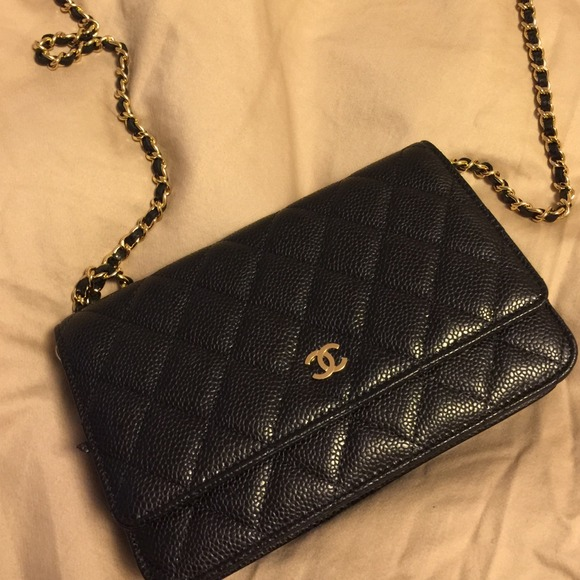 CHANEL - Chanel Classic black caviar wallet on a chain woc from ... : chanel woc classic quilted bag - Adamdwight.com