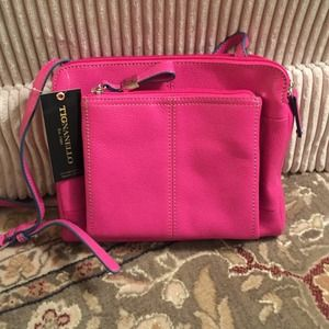 NEW WITH TAGS Leather Triple Compartment crossbody