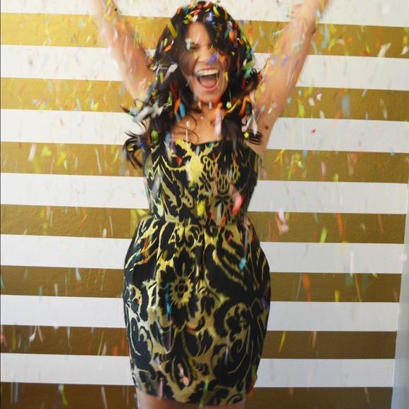 H&M Dresses - H&M Strapless Black & Gold Brocade Dress