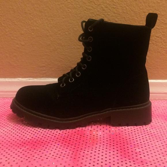 Velvet Black Combat Boots