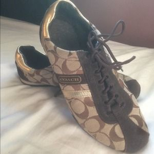 fa6e979361fa7 Classic Gold and Brown Coach Sneakers *gently used