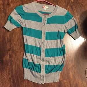 Teal and grey striped cardigan