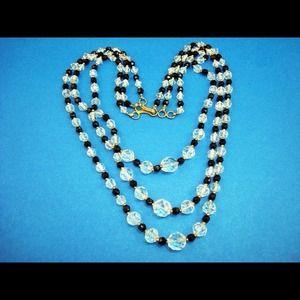 Vintage 3 Strand Crystal/Black Glass Bead Necklace