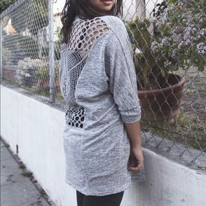 Painted Threads Sweaters - Crochet Back Gray Cardigan