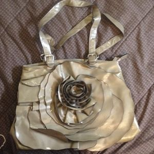 Taupe patent rose design purse tote large