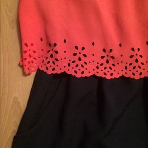 Dresses - Dark navy dress with pink overlay on top.