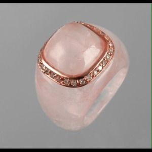 Rose Quartz CZ ring