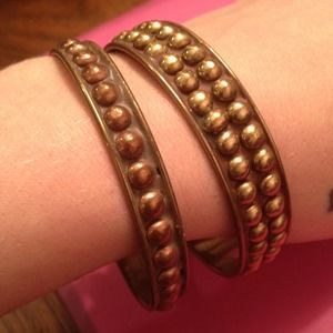 Pamela Love Jewelry - STACKING BANGLE SET: Gold studded bangles