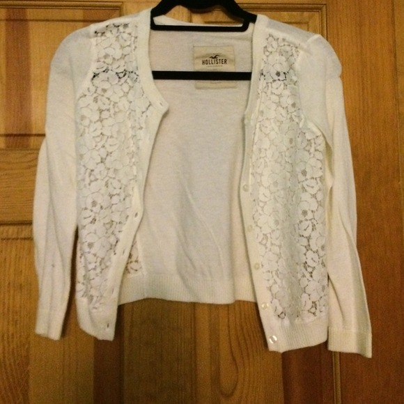 75% off Hollister Sweaters - Lacy White Button Up Sweater from ...