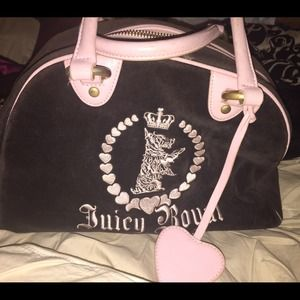 Authentic Juicy couture black and pink bowler bag