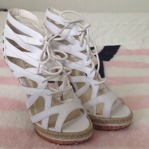 Bakers Shoes - Bakers White Caged Sandals