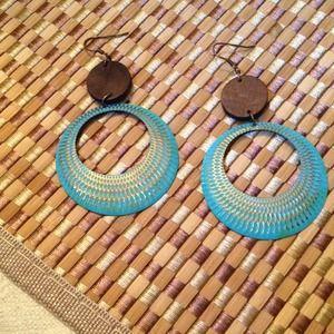 "Earrings - 3"" circle and wood Turkoise drop metal"