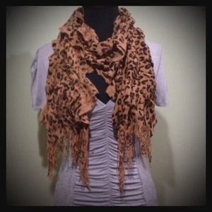 Accessories - animal print fringe scarf