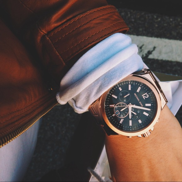 Michael Kors Rose Gold Watch With Black Face