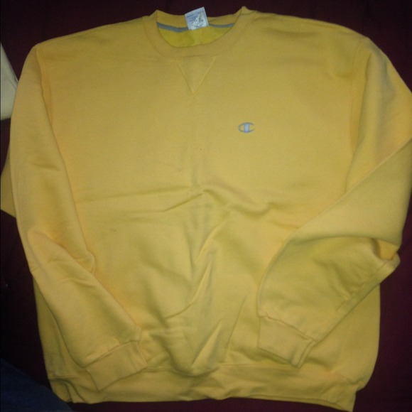 Yellow Champion Sweatshirt Fashion Ql
