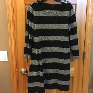 JCrew black and grey striped dress