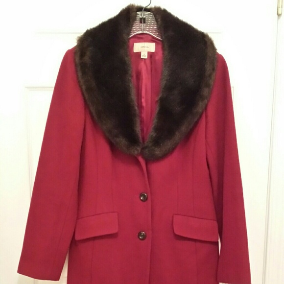 75 Off Merona Outerwear Red Wool Coat With Faux Fur