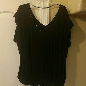 Baby Phat black front knotched shirt