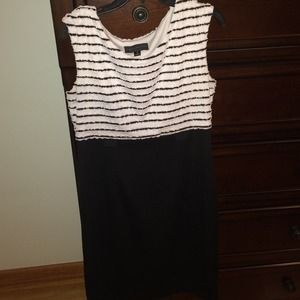 Connected Apparel  Dresses & Skirts - White striped black dress