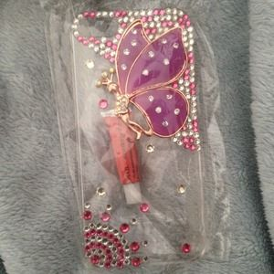 Brand new bling crystal butterfly iphone case