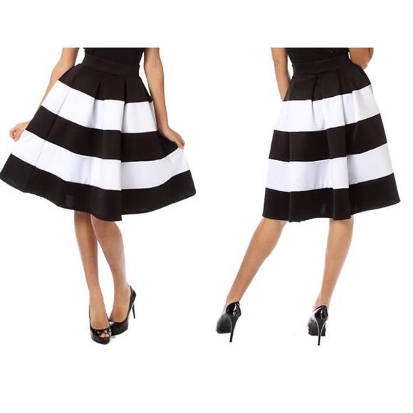 ae8b65b4d Skirts   White Black Midi Flare Skirt Mid Length Striped   Poshmark