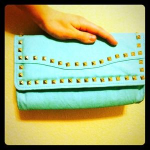 Studded clutch/shoulder purse