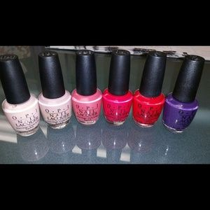 6 full size brand new O.P.I nail polish in box