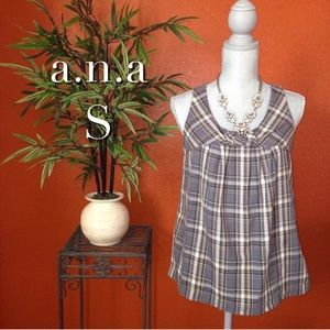 a.n.a Gray and Yellow Plaid Top Small NWOT