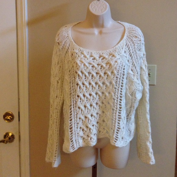 80% off Free People Sweaters - FREE PEOPLE Cream Loose Crochet ...
