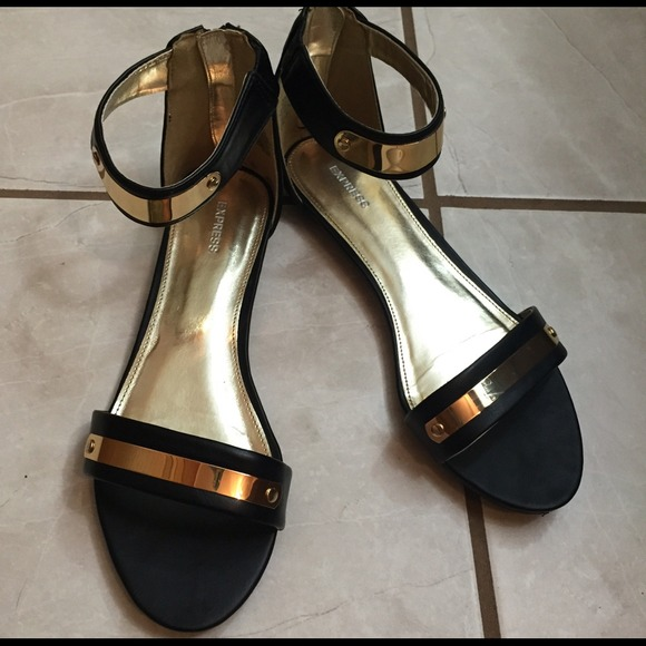 398a175ea8d Express Shoes - Express black and gold ankle strap sandals