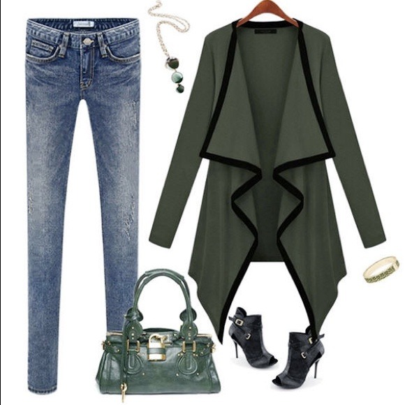 bf1d641f74 Olive Green Waterfall Long Sleeve Cardigan