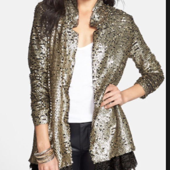 82% off Free People Sweaters - Free People Gold Sequin Cardigan ...