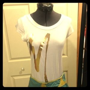 Marciano white t shirt. Metallic gold M