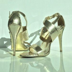 Steve Madden Gold Stiletto Sandals