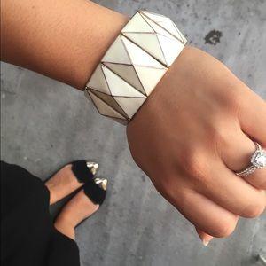 F21 Beige Geometric Stretchy Bracelet