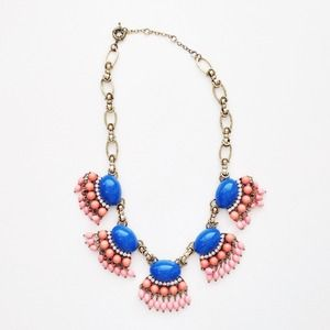Colorful Statement Necklace: Cobalt, Pink + Peach