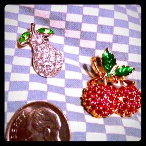Swarovski crusted fruit pins