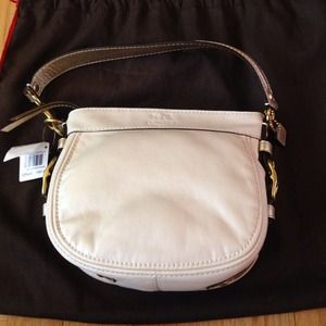 Authentic Coach Zoe Leather Top Handle Pouch