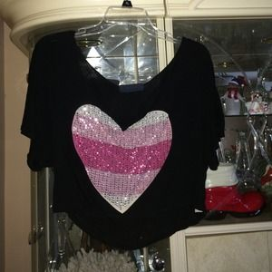 Black with pink heart crop top