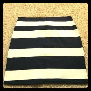 Navy & White Striped Cotton Skirt!