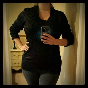 NWOT - Black & Silver Fitted Shimmery Knit Top