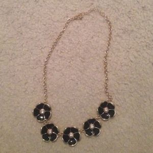 Black Flower Statement Necklace