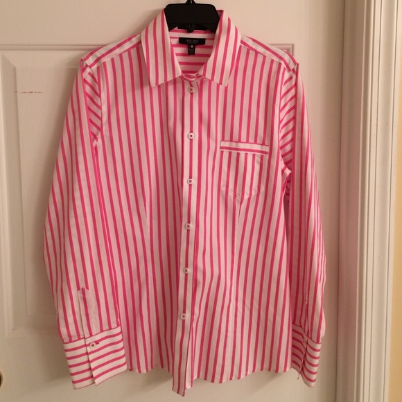 64% off Foxcroft Tops - 💝Women's Pink & white striped button down ...