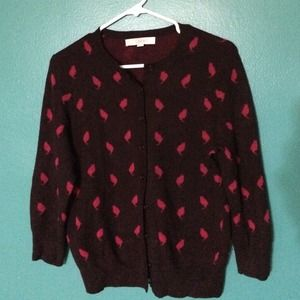 Anne Taylor Loft Sweaters - 🚫🚫SOLD🚫🚫 Burgundy Cat Print Cardigan