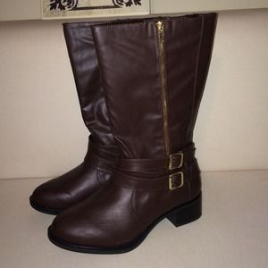 Boots - Brand New Brown Side Zipper Boots!